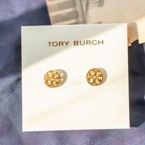 Tory Burch Gold Tone Logo Circle Stud Earrings